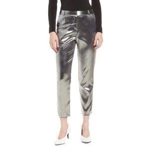 Topshop Silver Metallic Suit Trousers Pants Bold